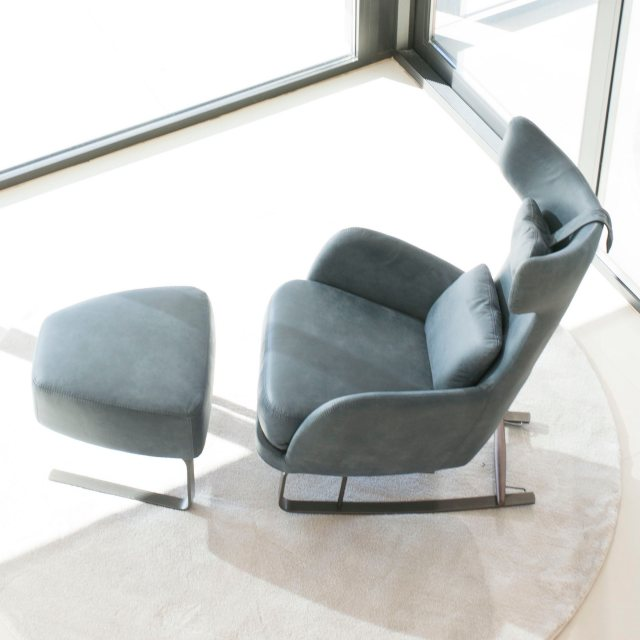 Fama rocking armchair with footstool