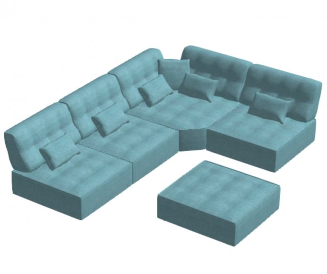 Fama Arianne Love 4 seater corner sofa with footstool