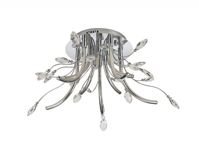 Catrine Crystal Chrome Medium Semi Flush Pendant Light