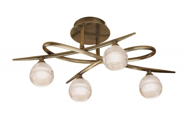 Julia Jones Palacio Four antique brass semi flush light