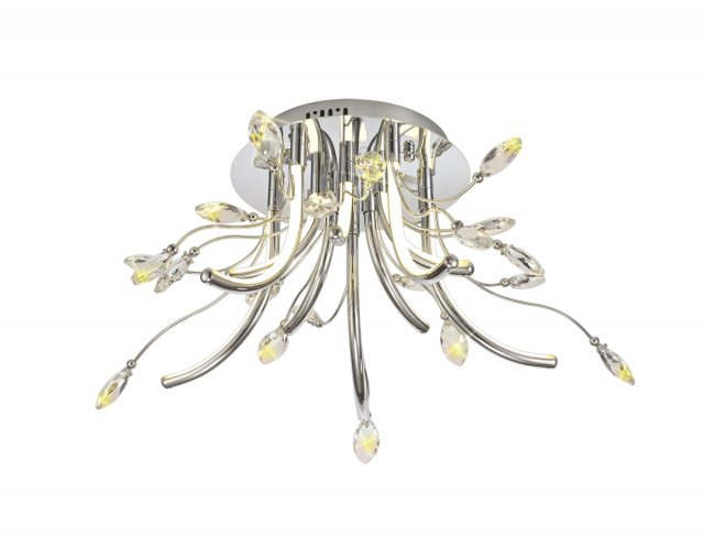 Julia Jones Catrine Crystal Chrome Medium Semi Flush Pendant Light