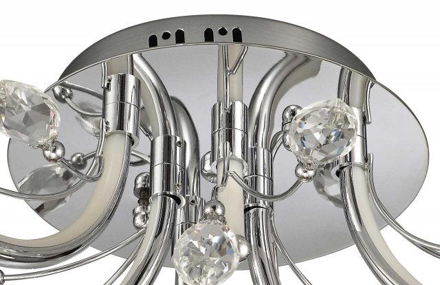 Julia Jones Catrine Crystal Chrome Small Semi Flush Pendant Light